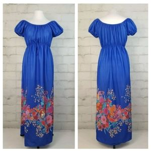 Vintage S Blue Off-Shoulder Cap Sleeve Maxi Dress